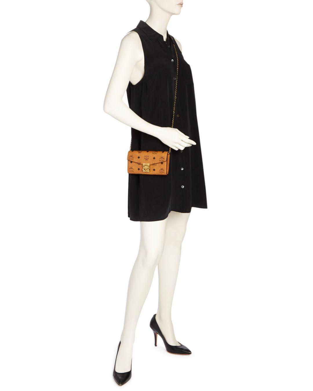 MCM Patricia Visetos Large Wallet On A Chain Crossbody in Black/Silver (Black)