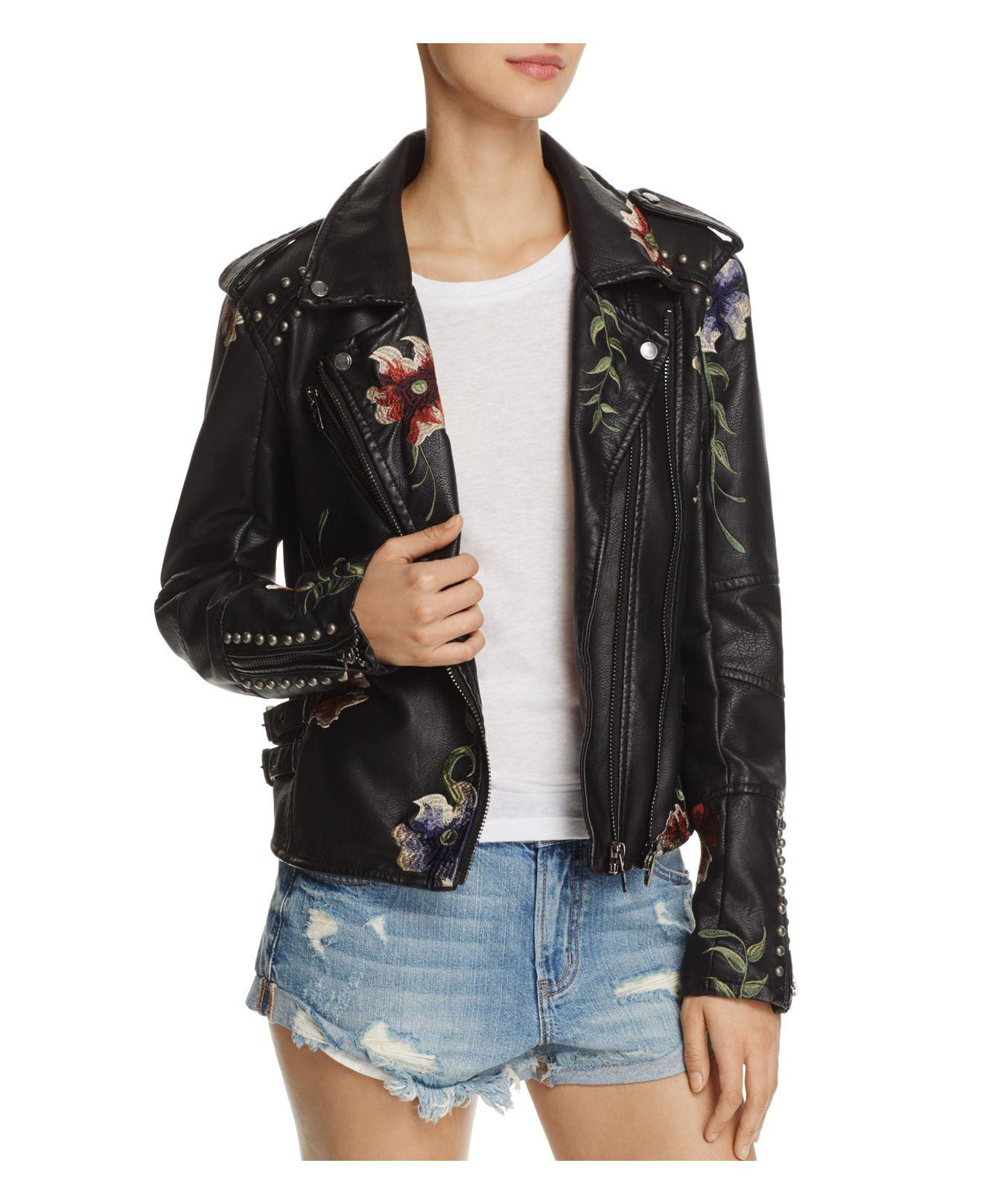 Blank NYC Floral Embroidered Studded Faux Leather Moto
