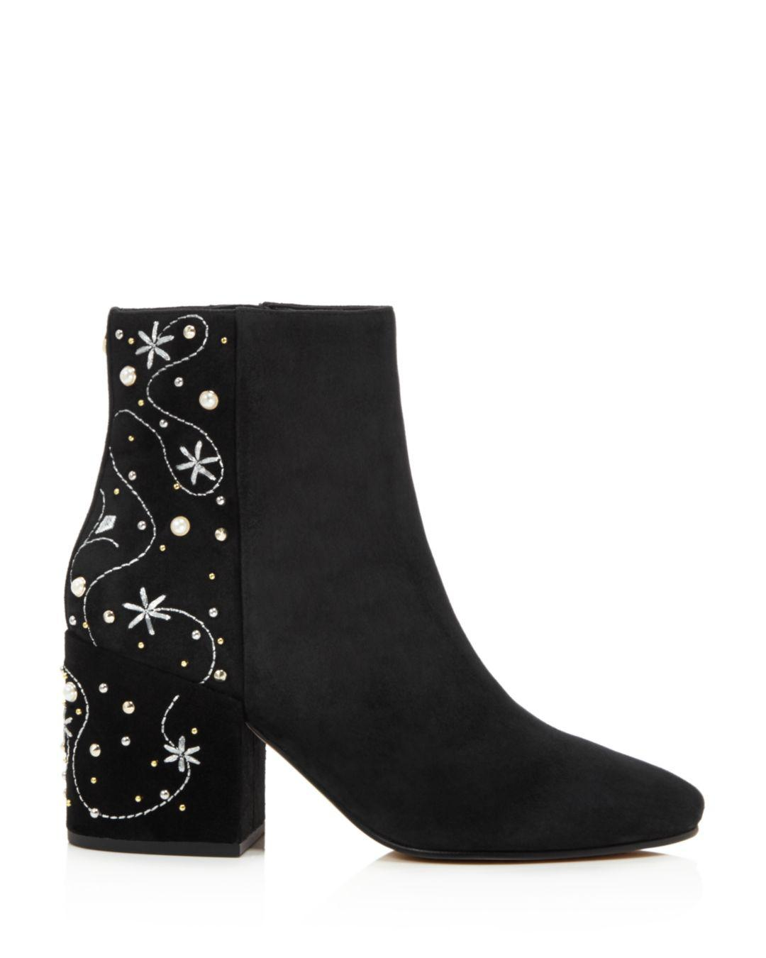 1ea0d321572287 Sam Edelman Taft Embroidered Faux Pearl Stud Boot in Black - Lyst