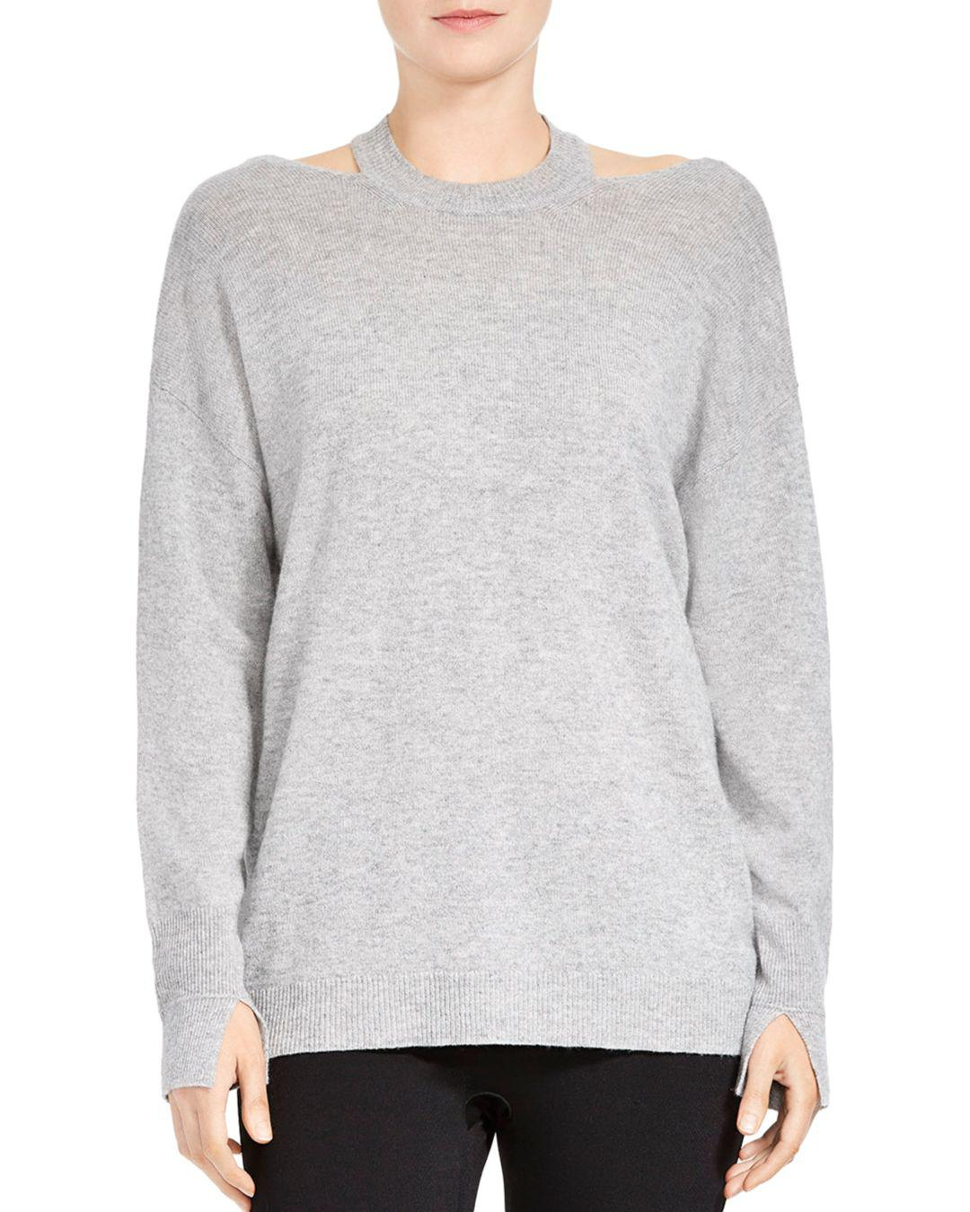 4a83aed2282 Lyst - Halston Merino Wool   Cashmere Cutout Sweater in Gray