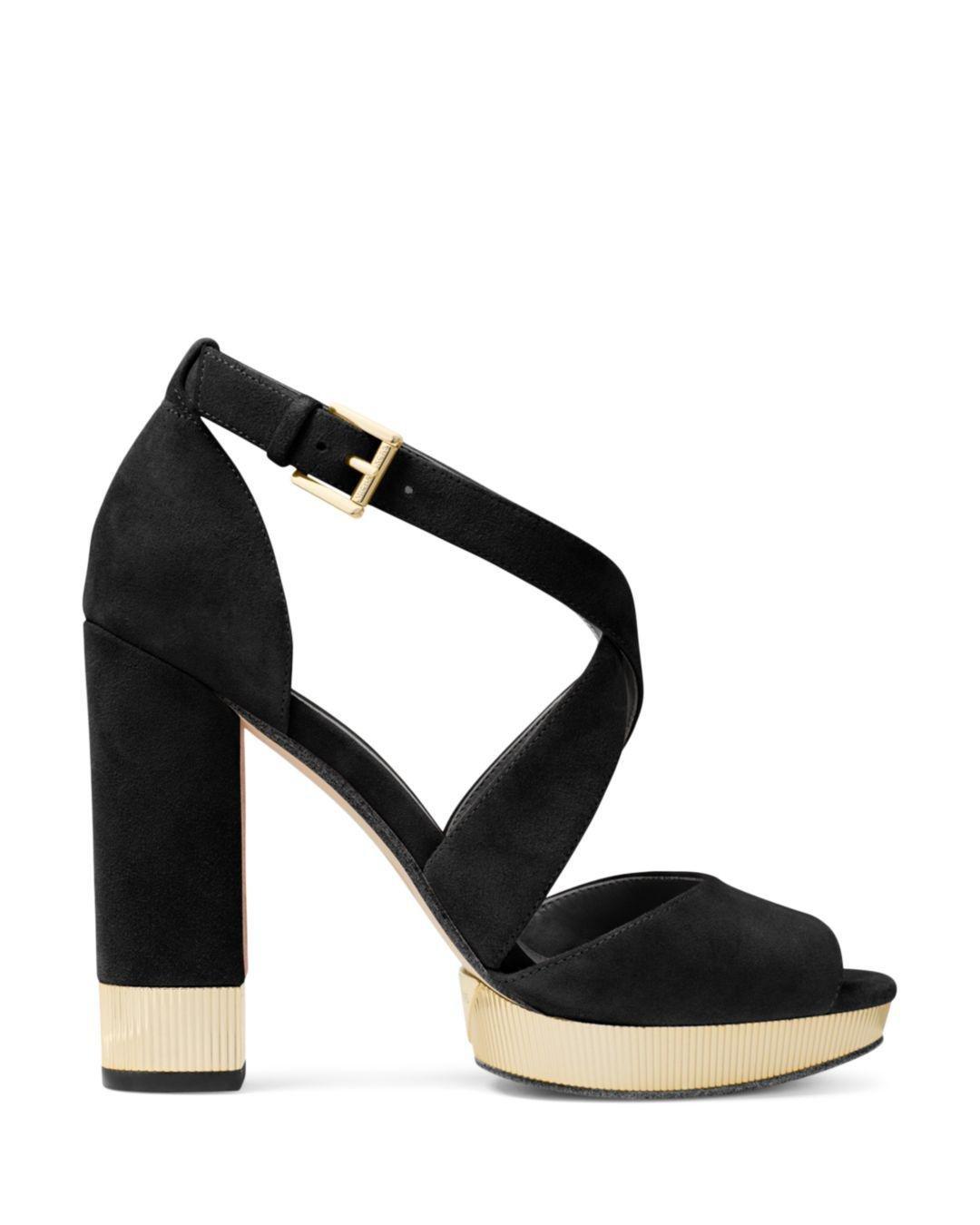 bd6fdfe0709 Lyst - Michael Kors Valerie Suede Platform Sandal in Black - Save 14%