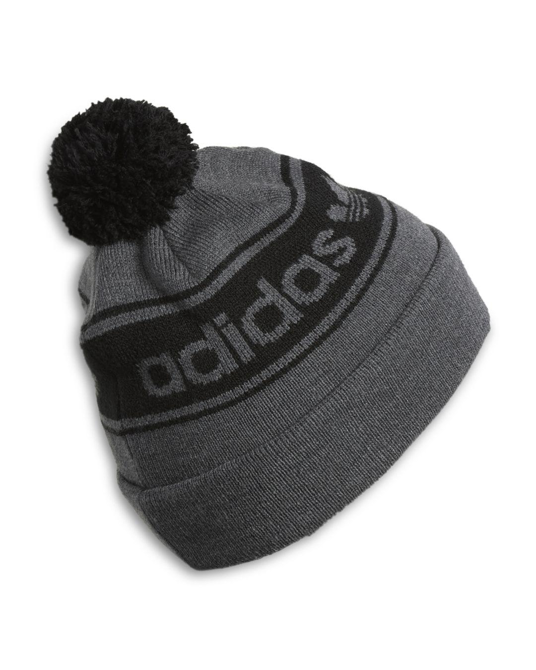Lyst - Adidas Originals Logo-stripe Pom-pom Beanie in Black for Men 1d8405b56e63