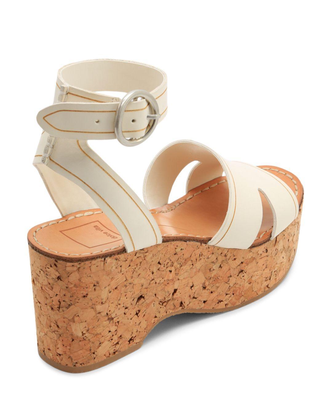 33942c0b5f3c Dolce Vita - White Women s Linda Leather   Cork Platform Sandals - Lyst.  View fullscreen