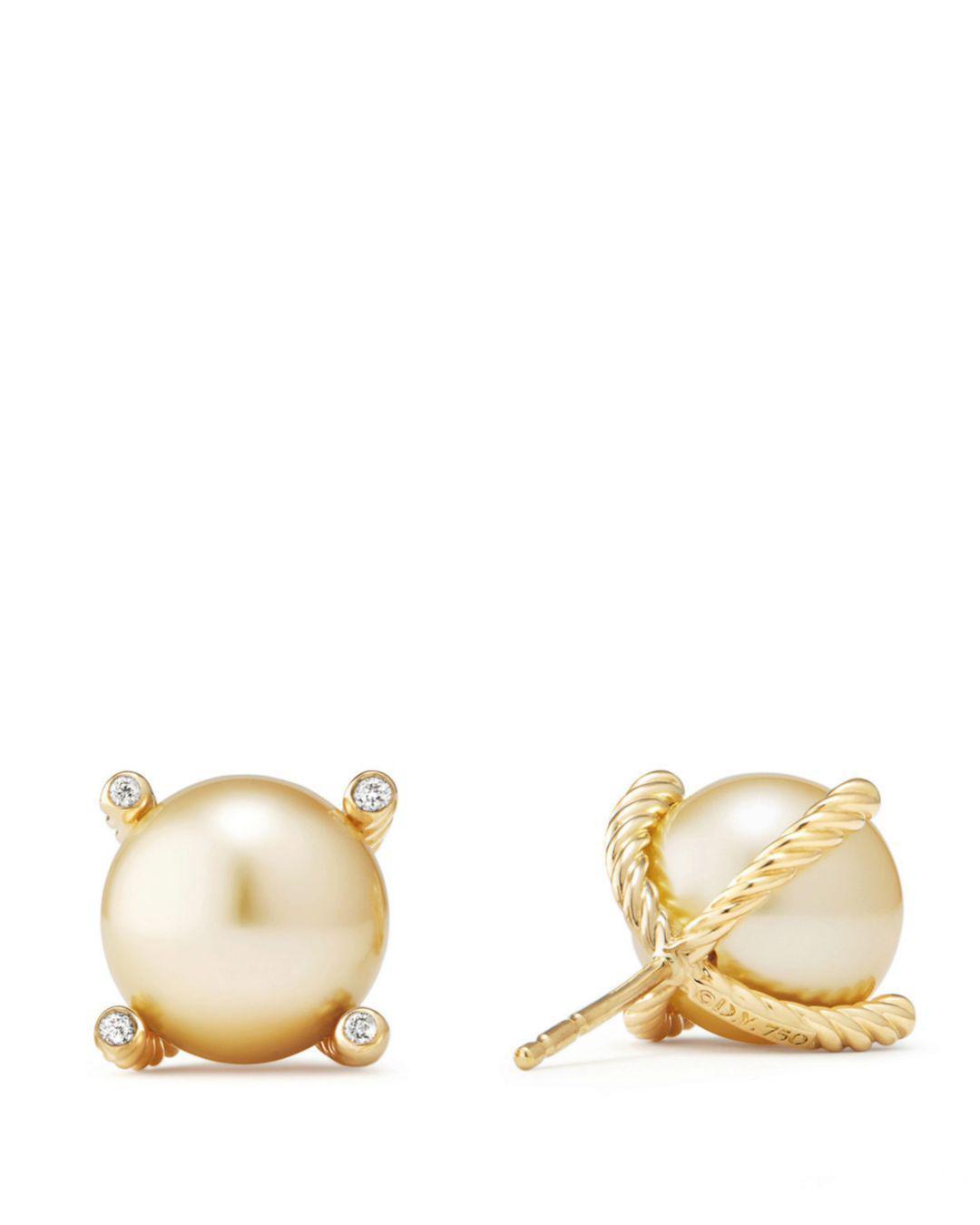 42b9529f6c5ab Women's Metallic Solari South Sea Yellow Cultured Pearl Earrings With  Diamonds In 18k Gold