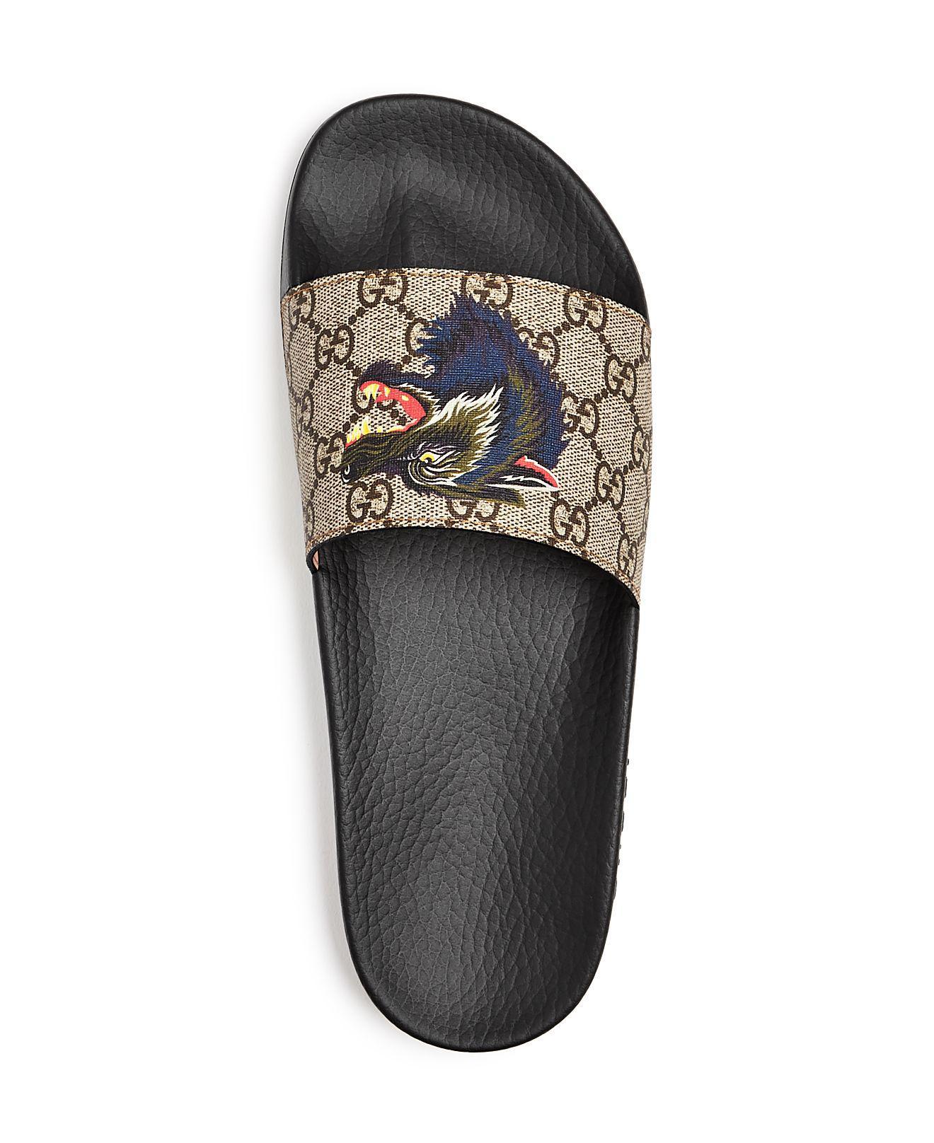 Gg Supreme Wolf Head Slide Sandals