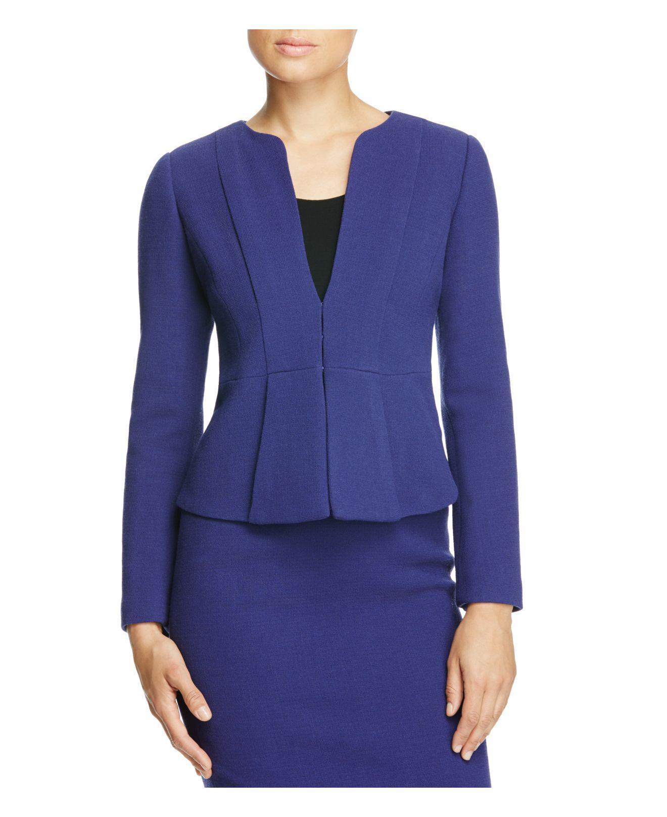 Lyst Armani Pleat Detail Blazer In Blue