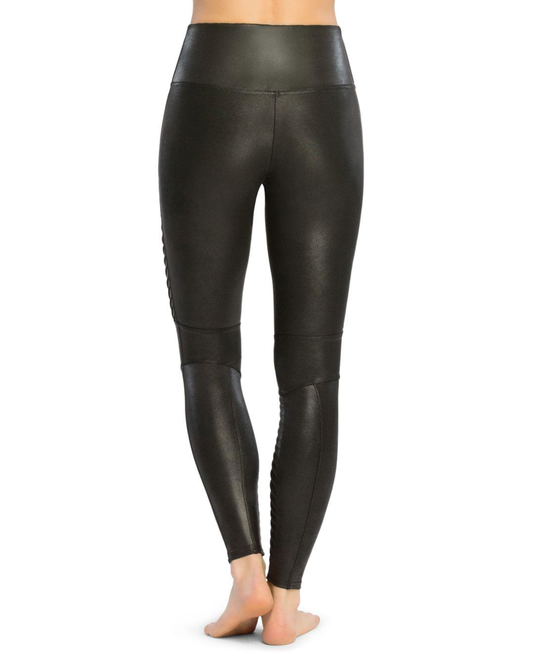 424695214351f6 Spanx Moto Faux Leather Leggings in Black - Lyst