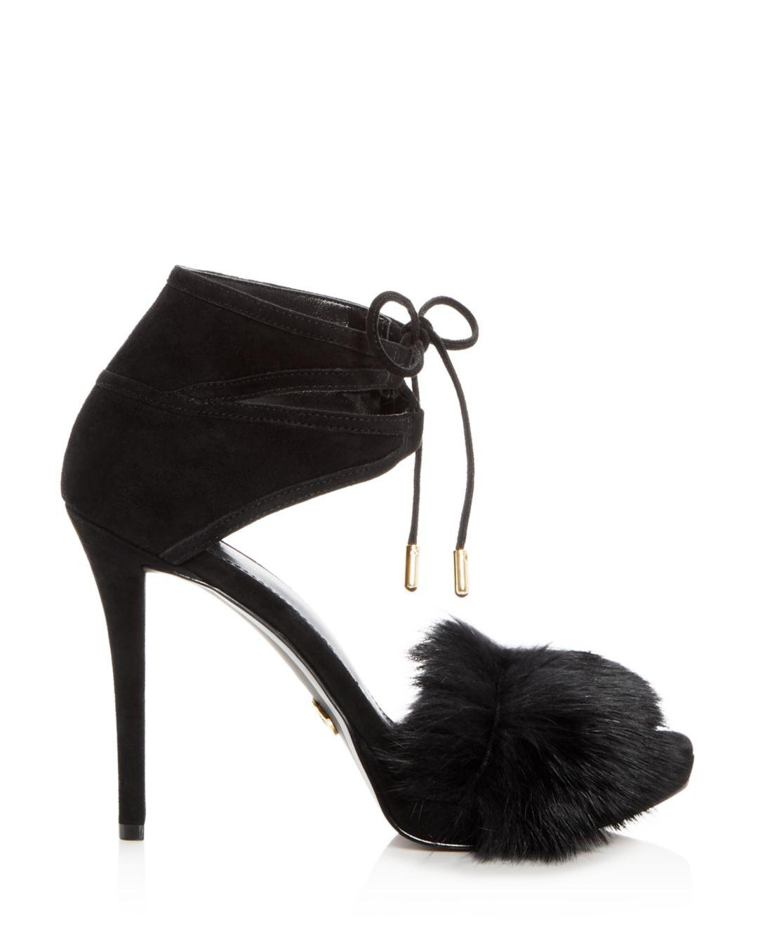 Michael Kors Fur Remi Sandals in Black