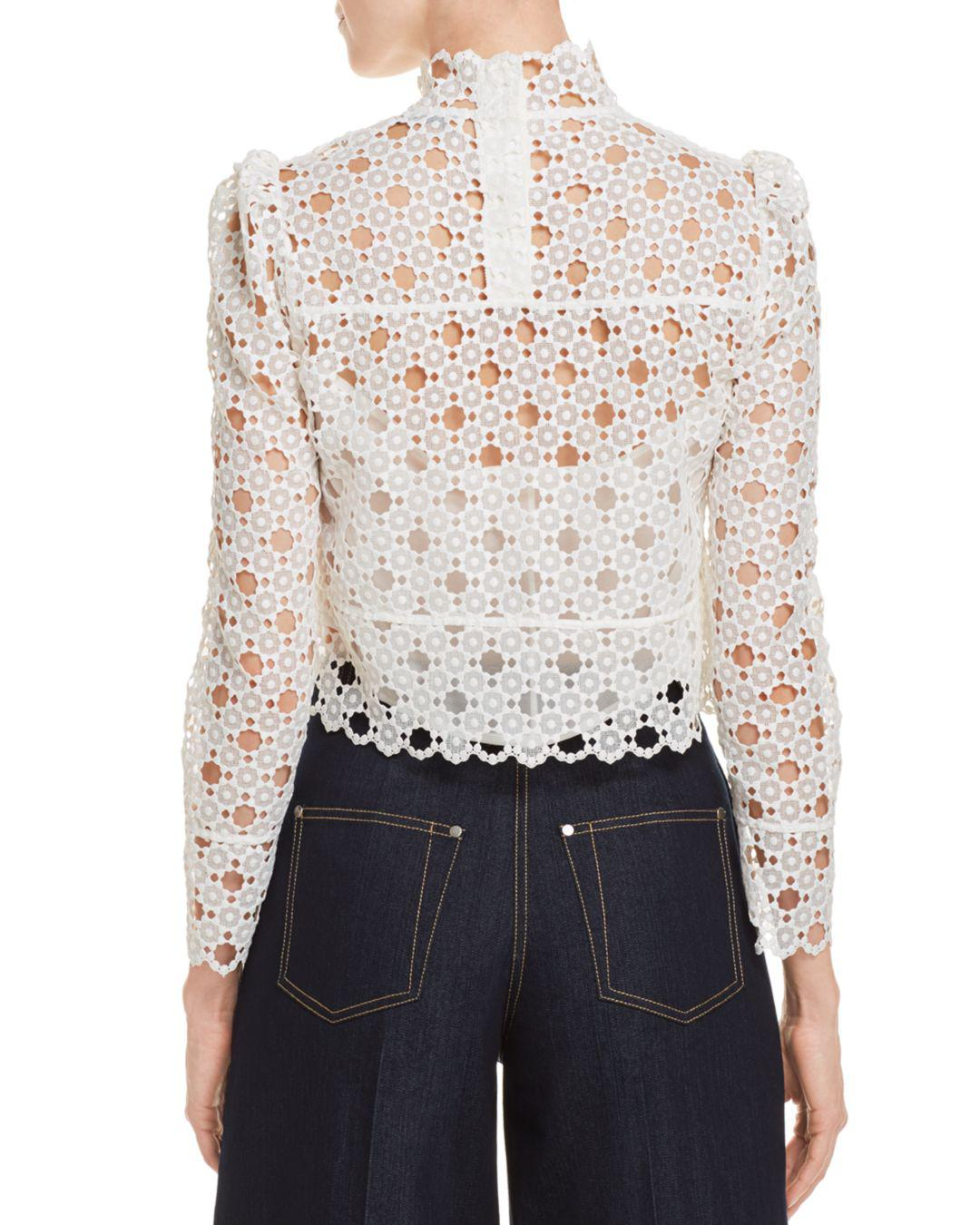 9041ec837e0f5f Sandro Coralisse Eyelet-lace Top in White - Lyst