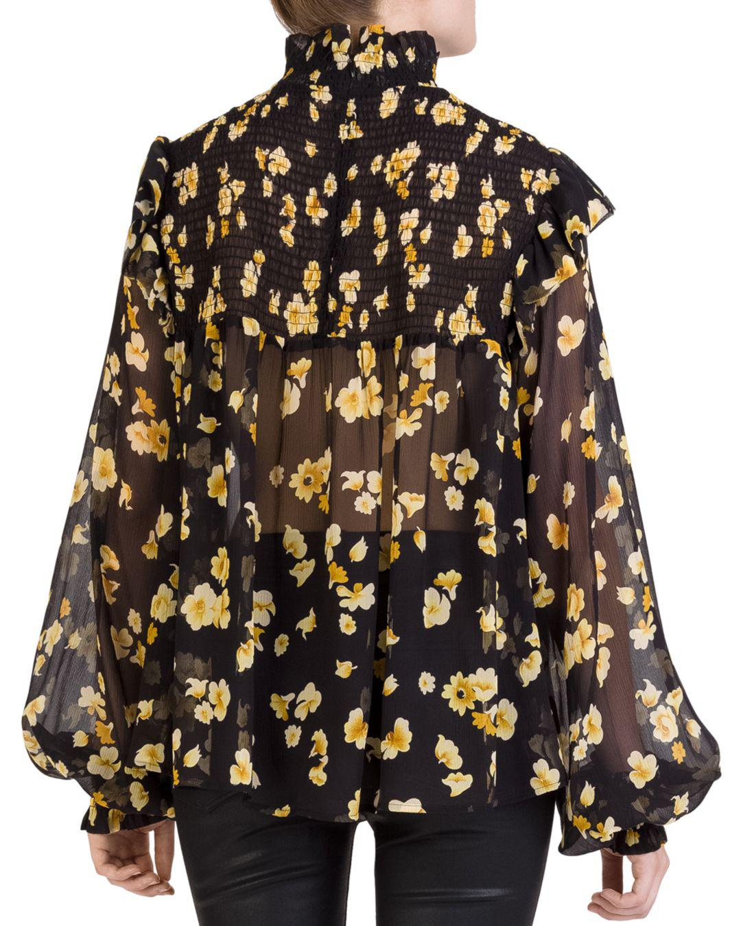 2881533f2a91fc Lyst - The Kooples Silk Smocked Floral-print Top in Yellow