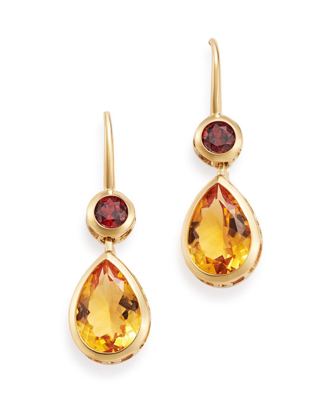 Bloomingdale S Citrine Garnet Drop Earrings In 14k Yellow