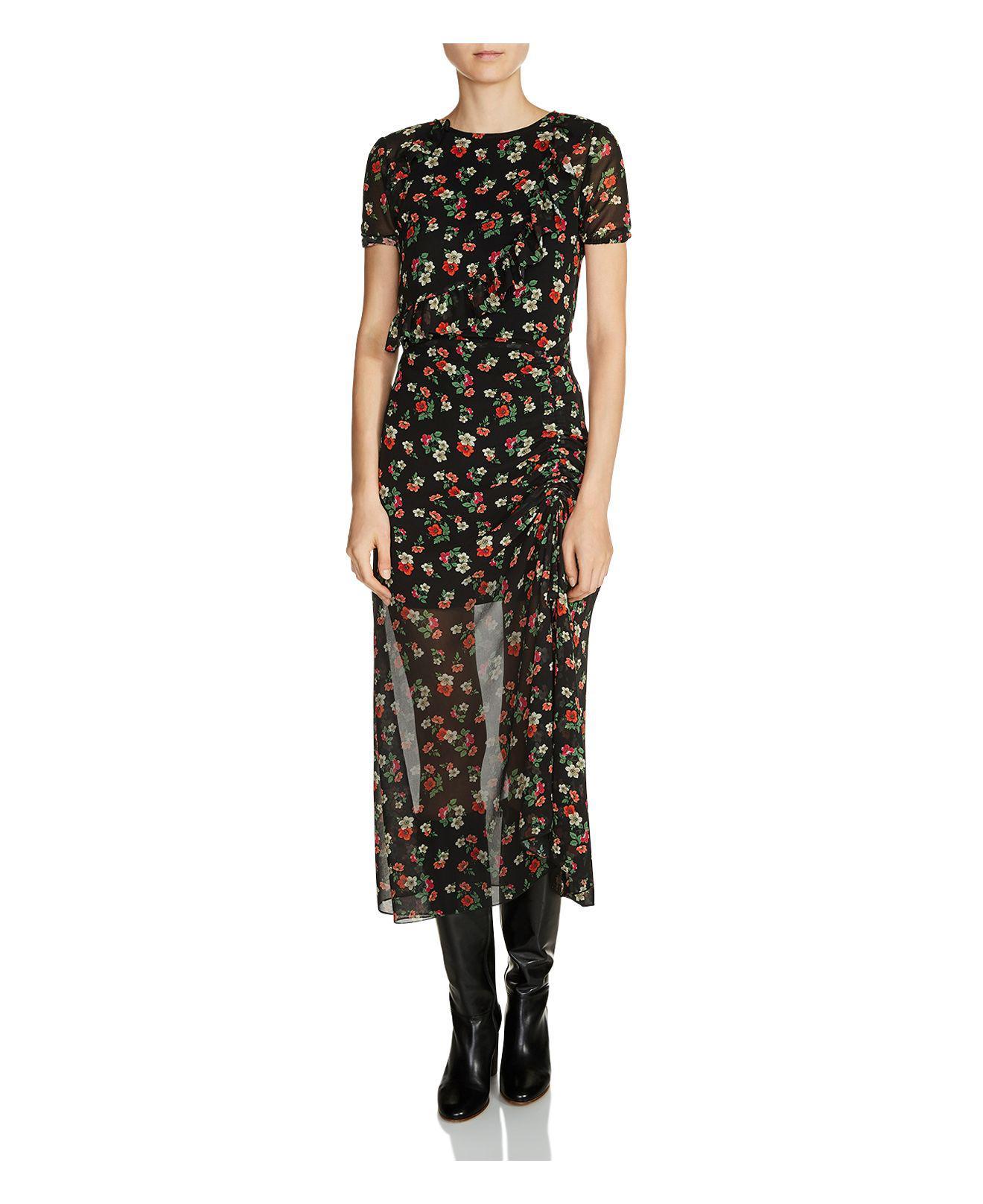 2b0c1a2331b7 Maje Rancho Ruffle Floral Print Midi Dress - Lyst