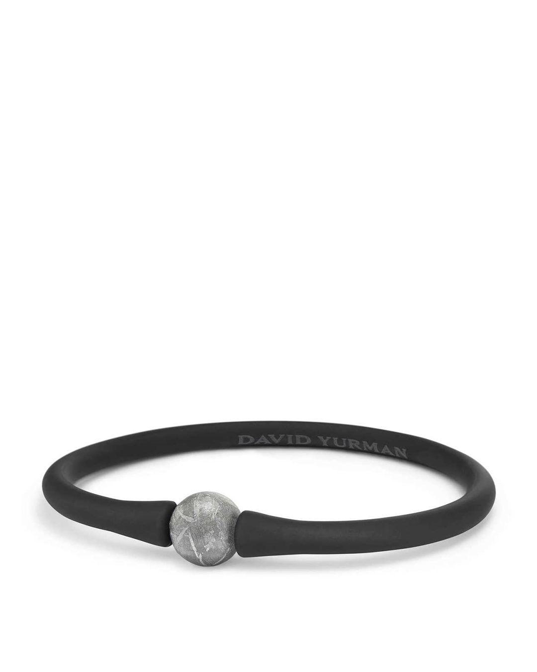 2283965347e57 Men's Black Spiritual Beads Stone Rubber Bracelet With Meteorite