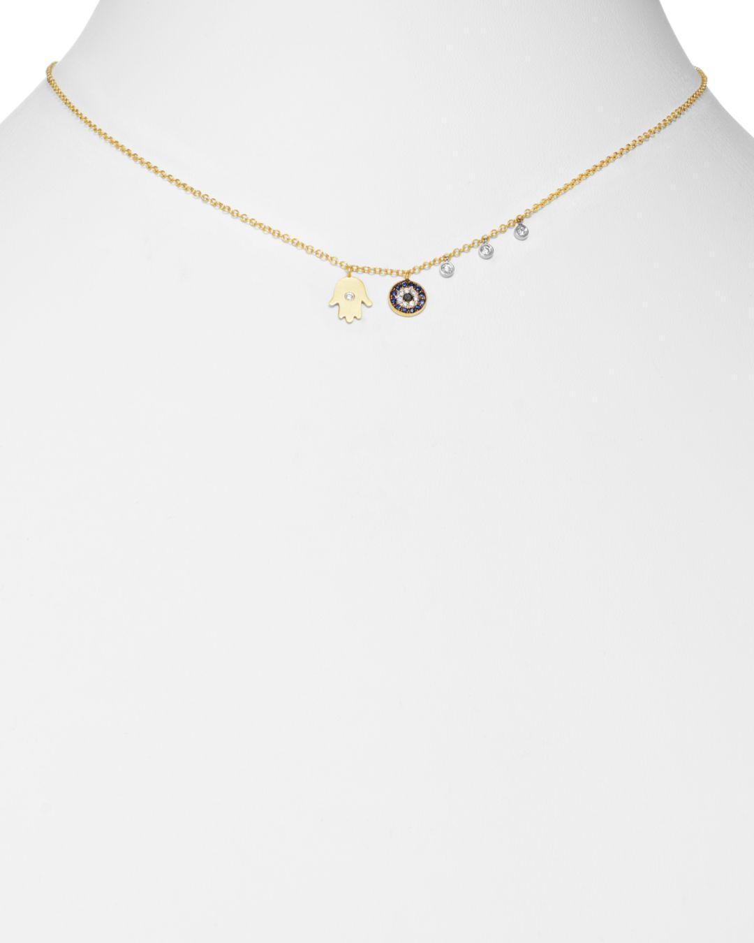 Meira T Diamond Hamsa 14k Yellow Gold Evil Eye Necklace in Metallic