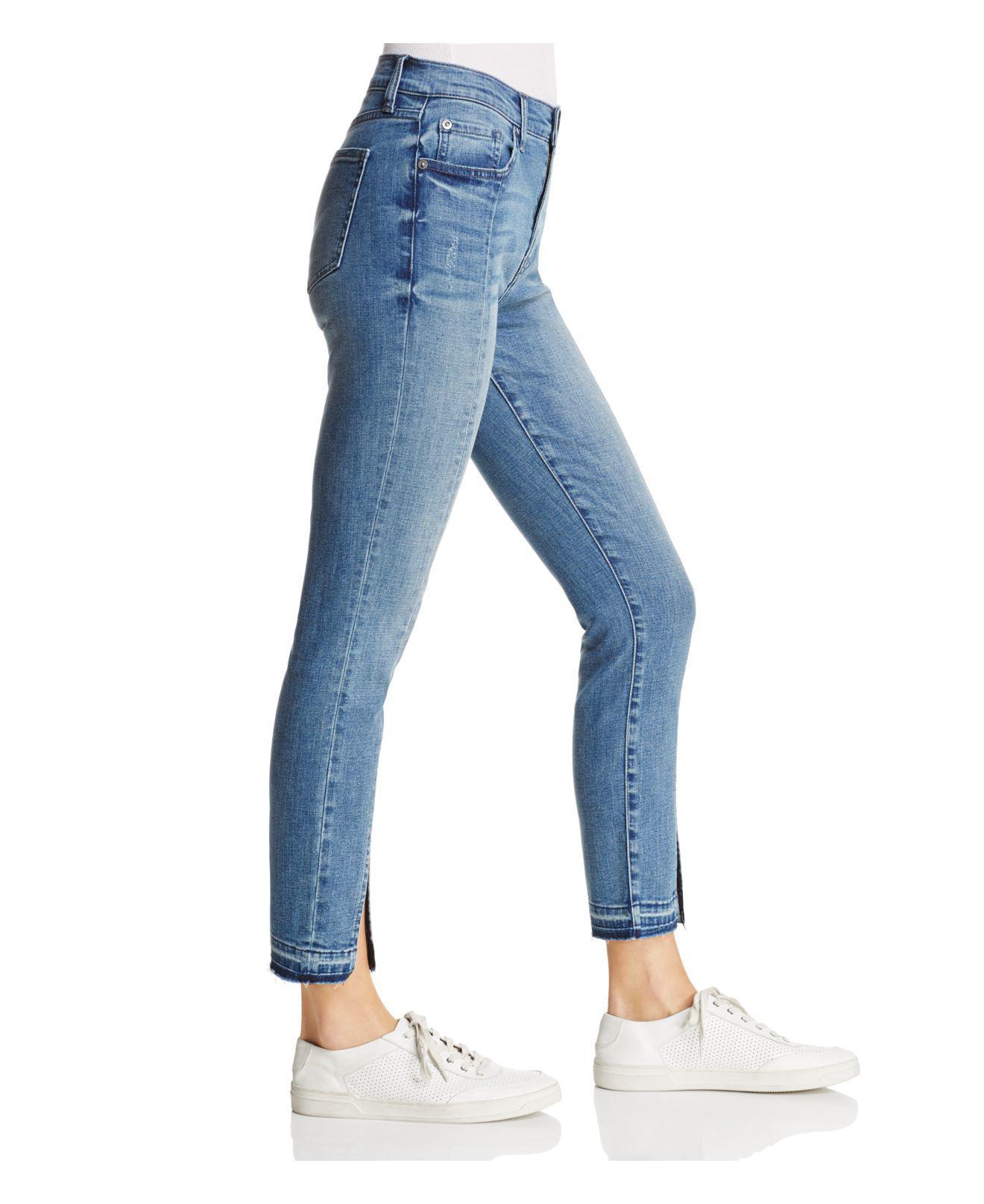 Lyst Jeans In Blue Skinny Pistola Monroe The Mistfit Seamed Cropped FKc3Tl1J