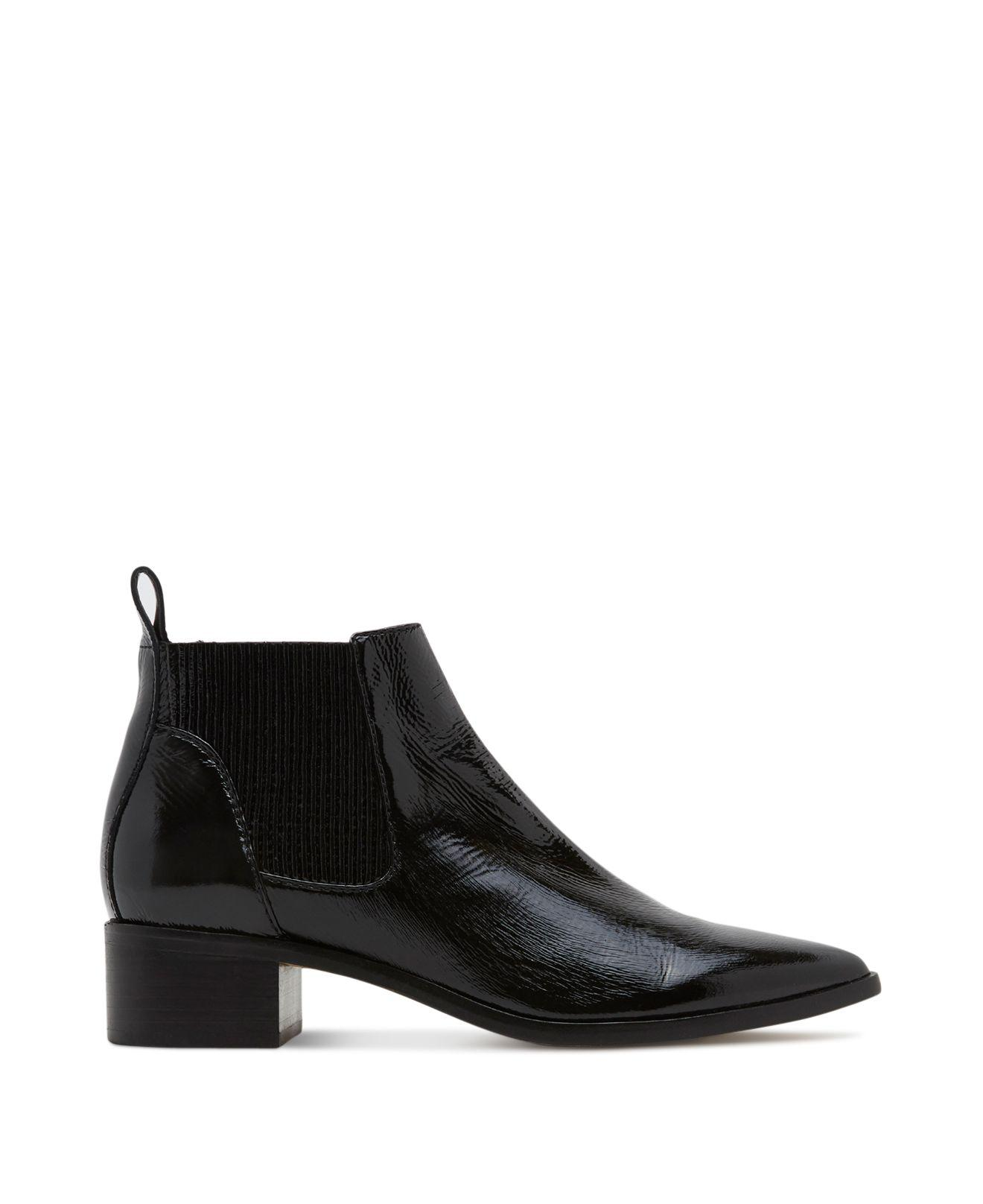 Dolce Vita Macie Patent Leather Chelsea Booties in Black