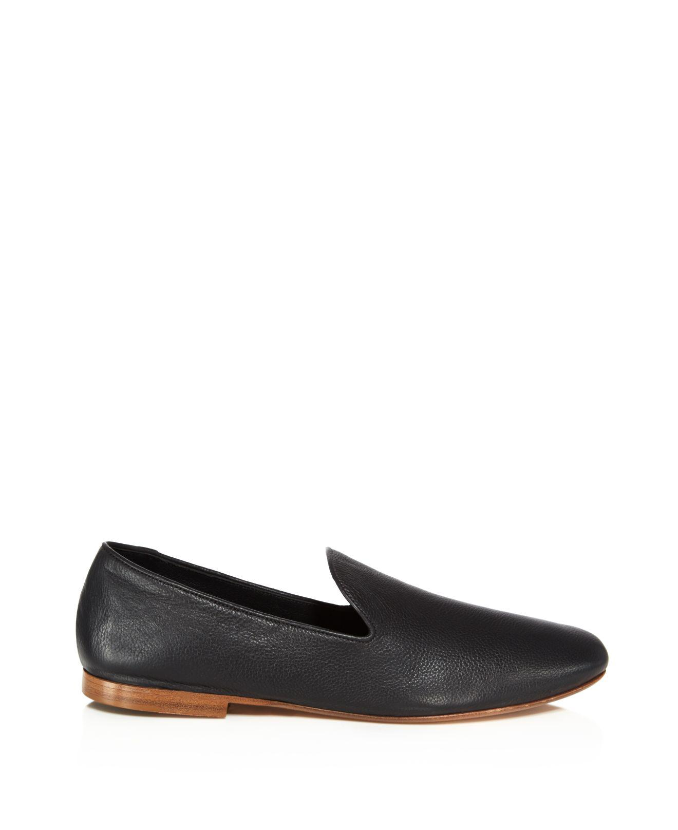 Vince Bray Leather Smoking Slippers in Black for Men