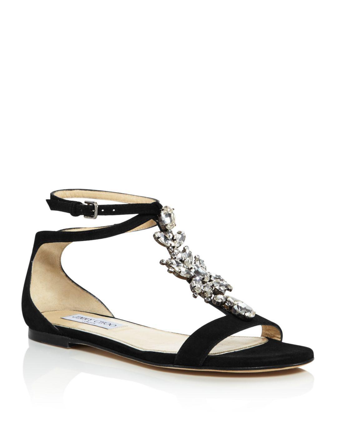 6918c0b457ba Lyst - Jimmy Choo Women s Averie Embellished Suede T-strap Sandals ...