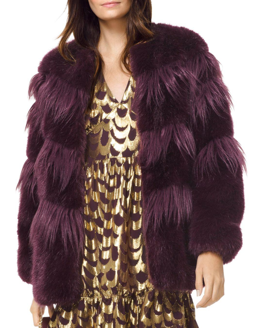 d8f1e9deb MICHAEL Michael Kors Chevron Faux - Fur Coat in Purple - Lyst