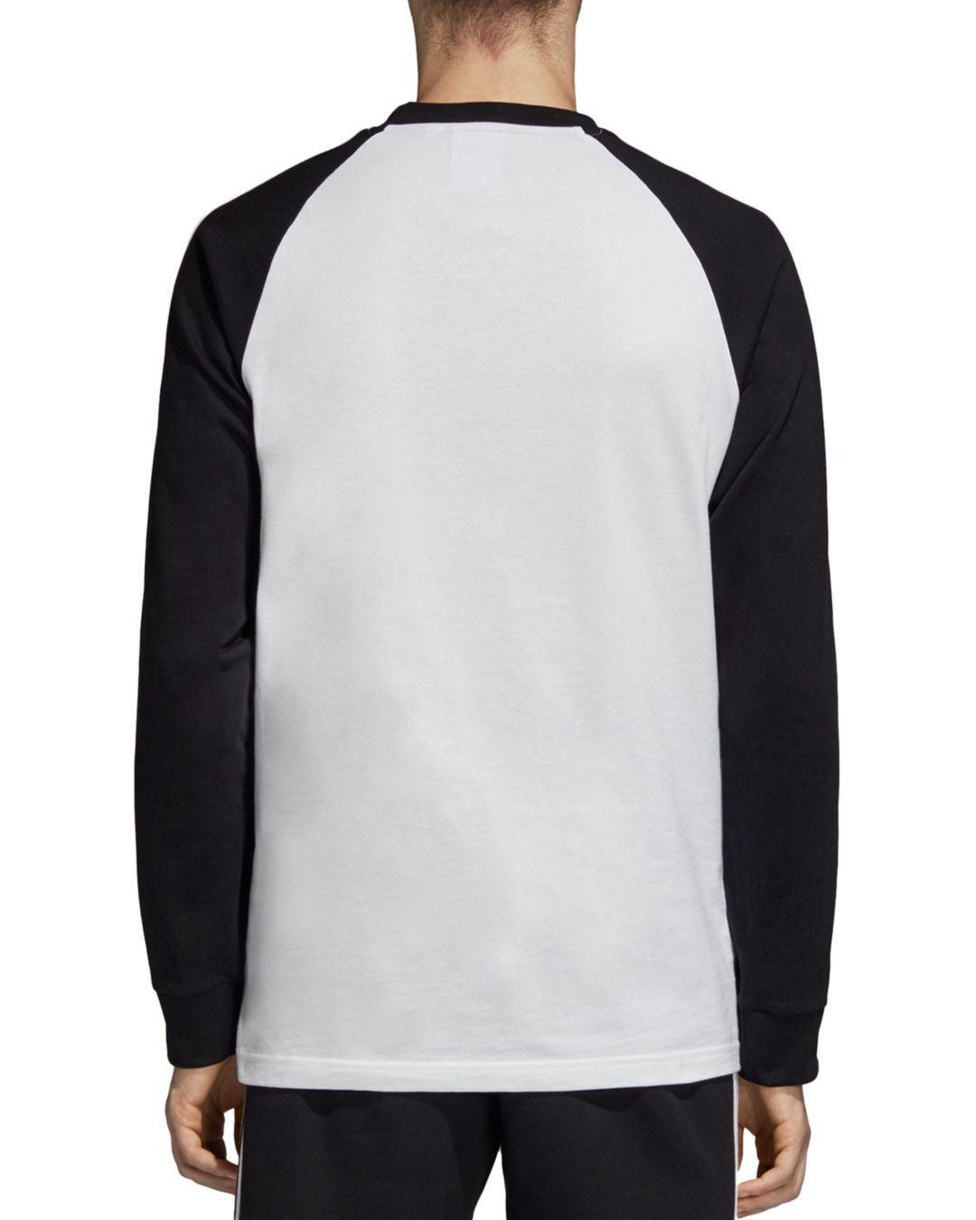 ec40d1bab10b0 Lyst - adidas Originals Three-stripe Long-sleeve Color-block Tee in ...