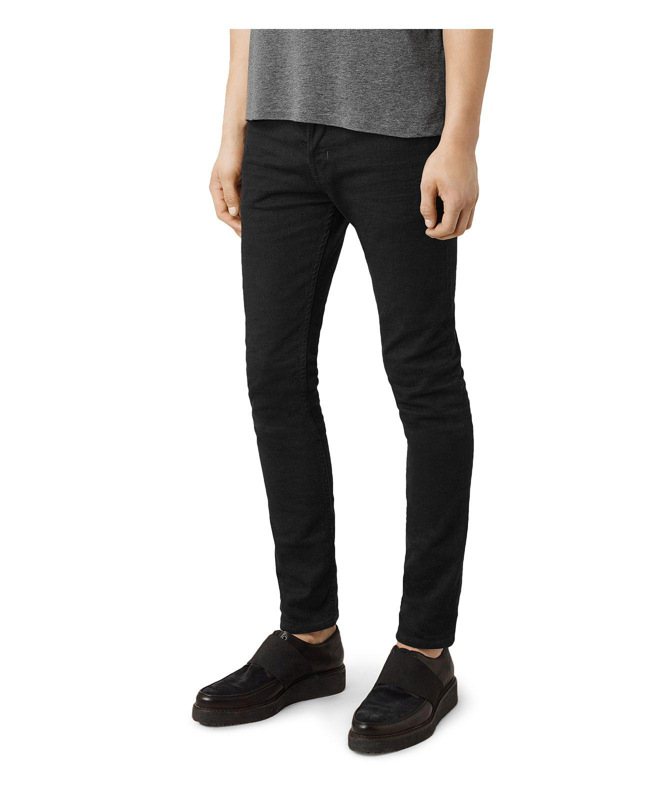 AllSaints Denim Crow Cigarette Super Slim Fit Jeans In Jet Black for Men