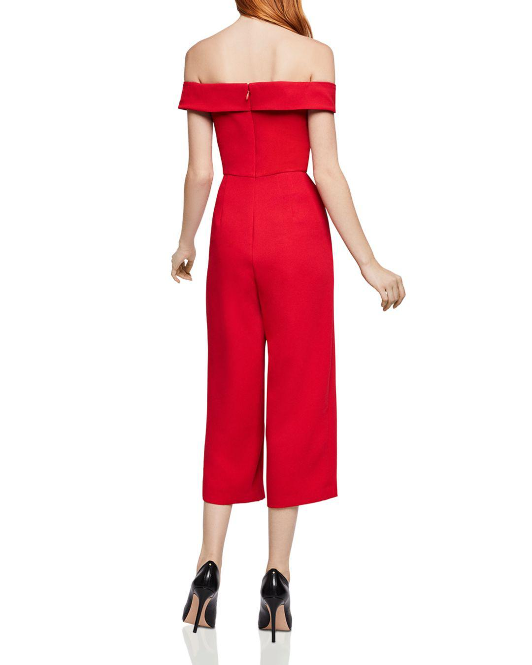 5136b690028 Lyst - BCBGeneration Off-the-shoulder Cropped Wide-leg Jumpsuit in Red