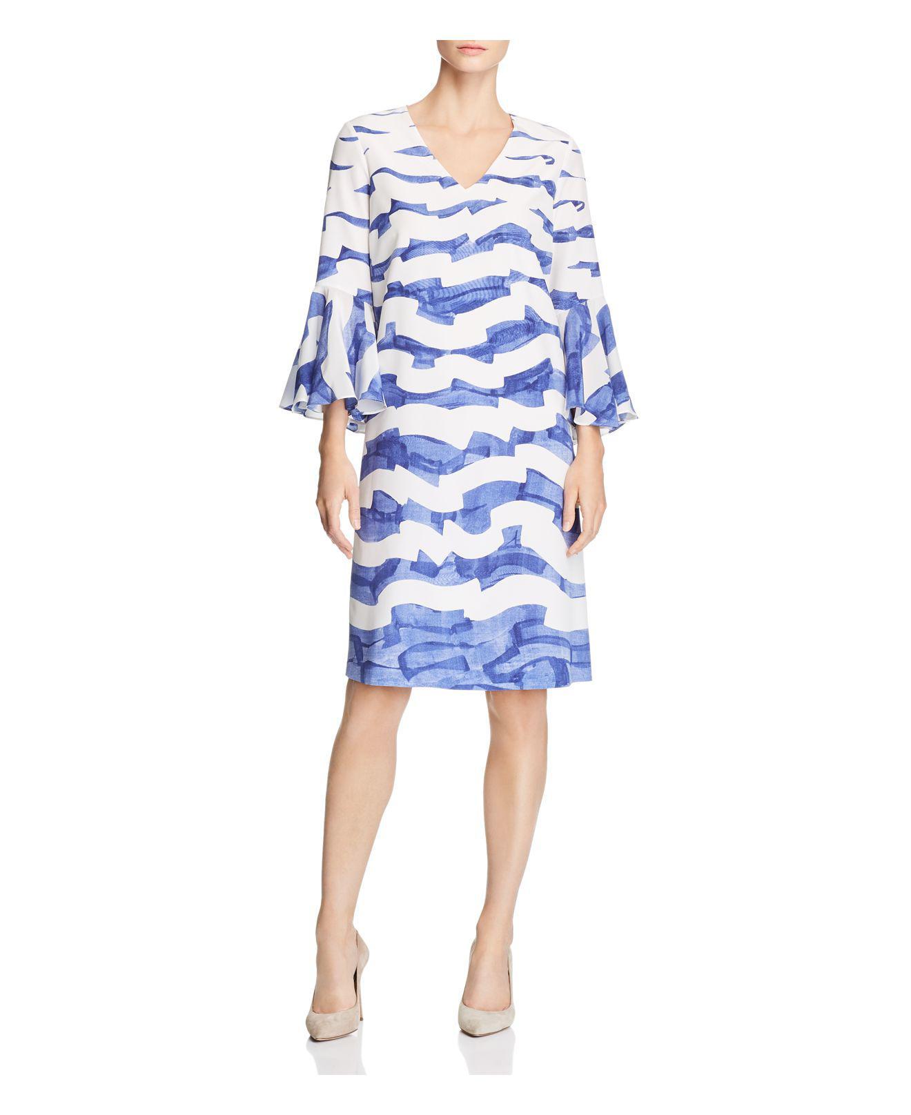 Lafayette 148 New York. Women's Blue Holly Wave-print Silk Dress