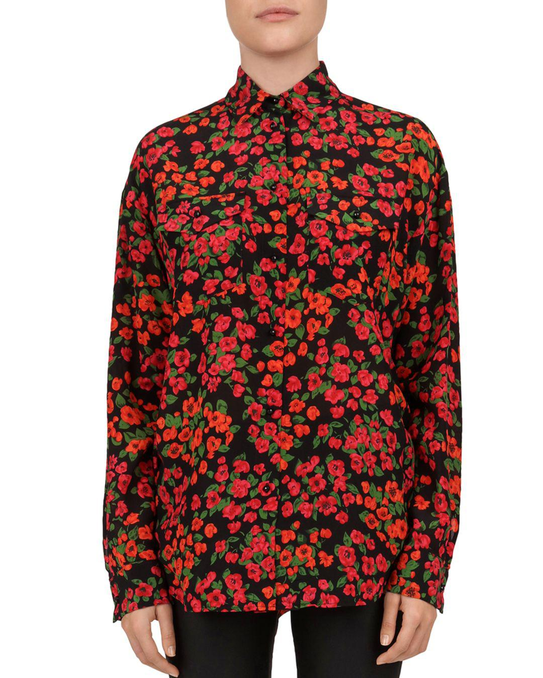 2009305fb774e3 The Kooples Camellia Print Silk Blouse in Red - Lyst