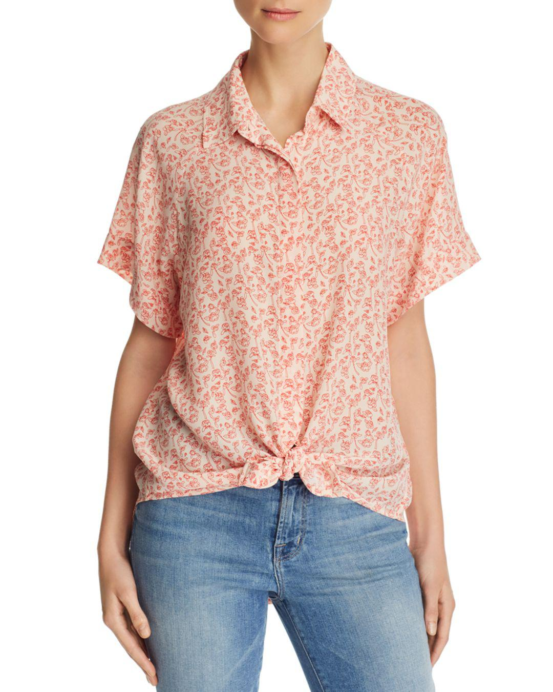 767f6068817ca9 Lyst - 7 For All Mankind Tie-front Printed-silk Top in Pink