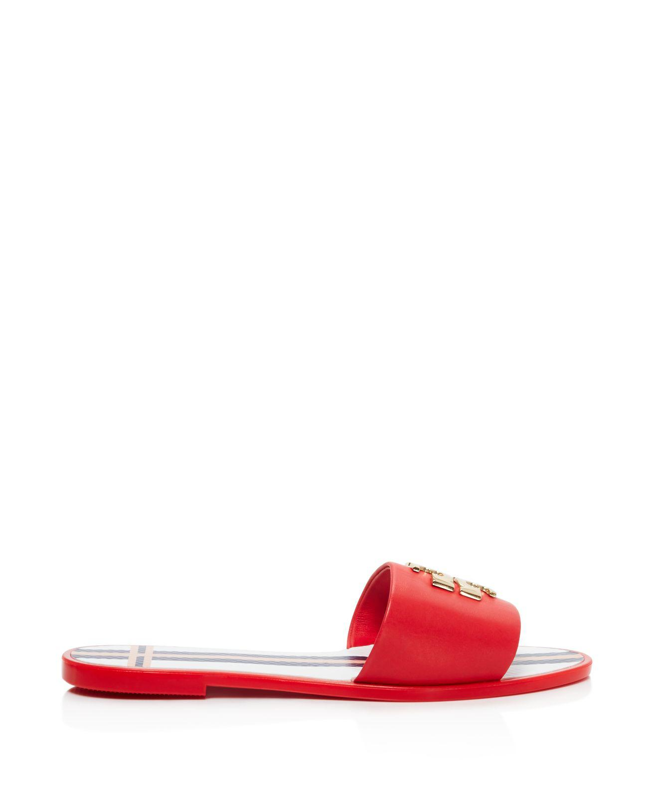 5d1d4501f Lyst - Tory Burch Logo Jelly Slide Sandals in Red