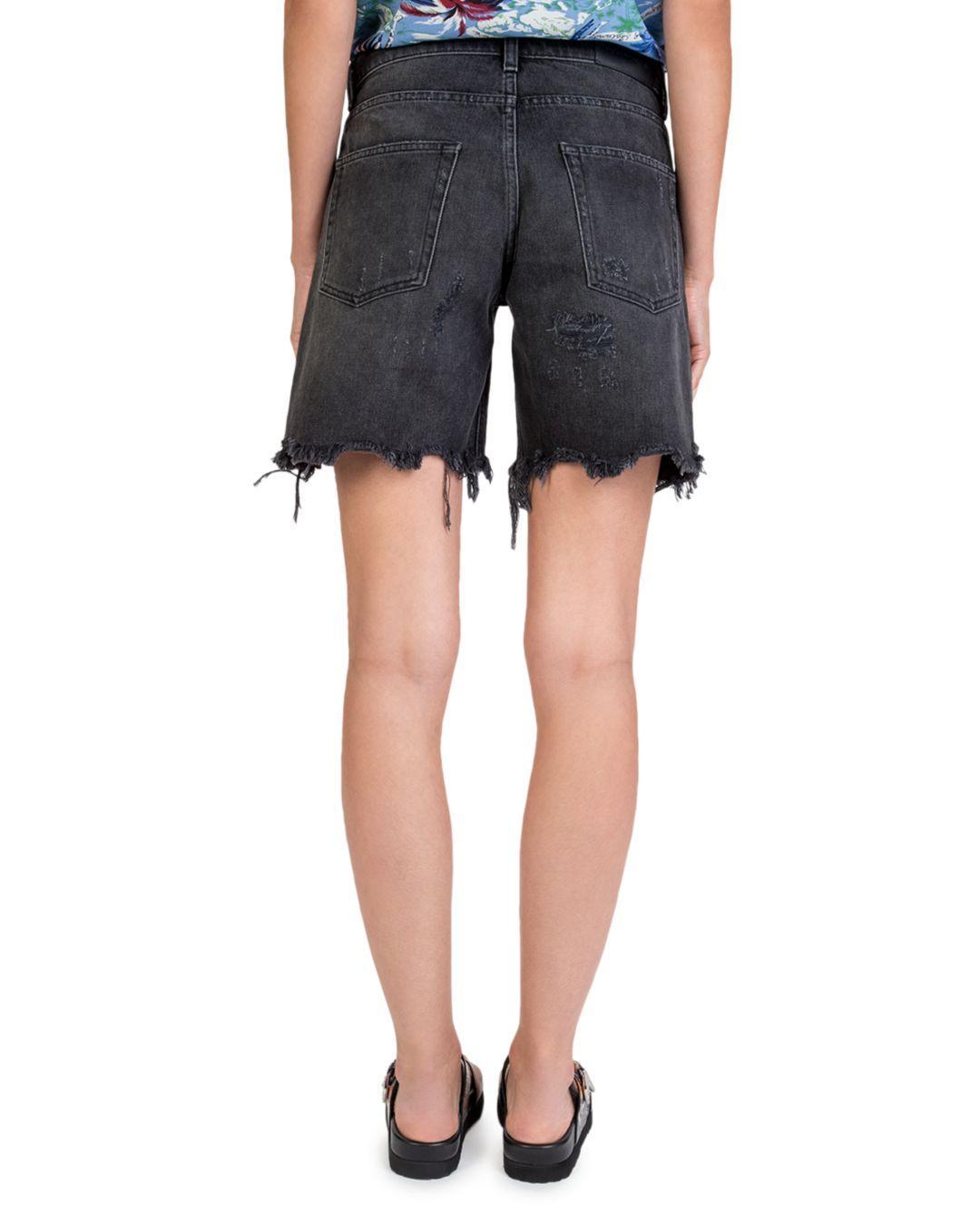 637f8faa2a The Kooples Jewel - Trim Distressed Denim Shorts In Washed Black in Black -  Lyst