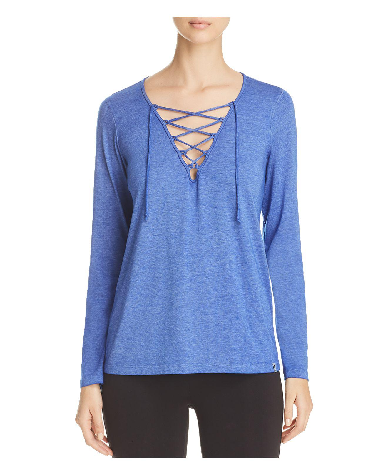 Nyc Performance: Marc New York Performance Lace-up Top In Blue