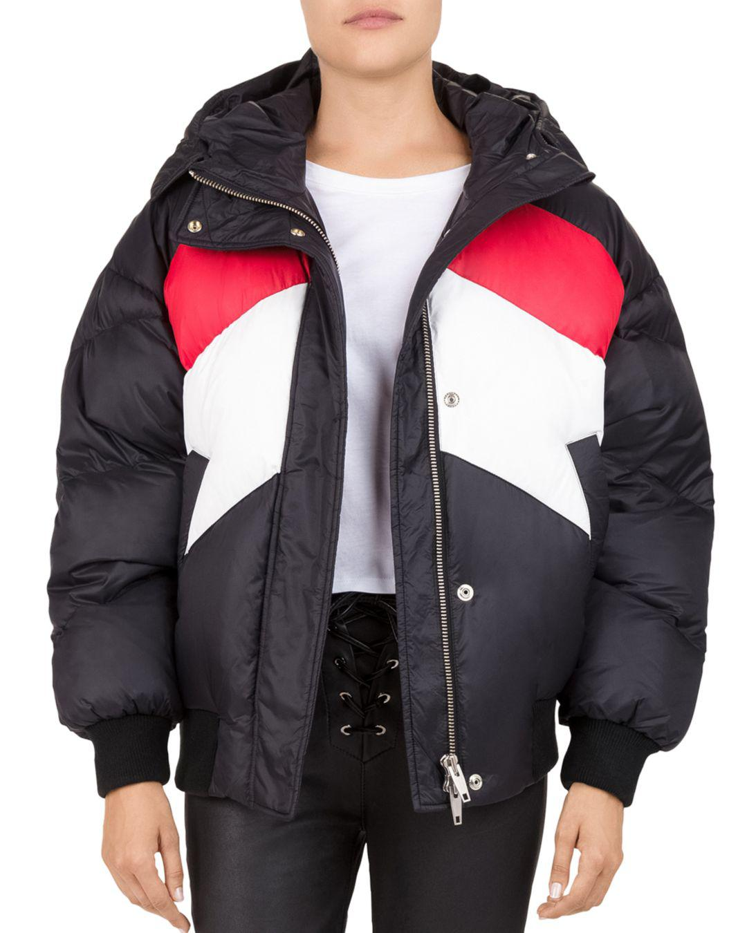 The Kooples Color-block Puffer Jacket in Black/Red/White ...