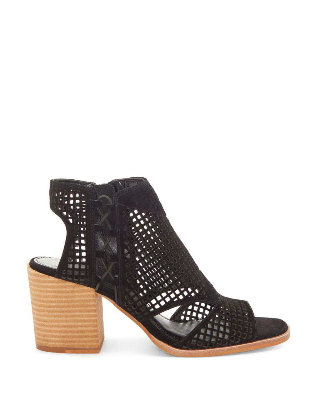 c36f1ea66b4 Lyst - Vince Camuto Women s Kampbell Mesh Block Heel Sandals in Black - Save  40%