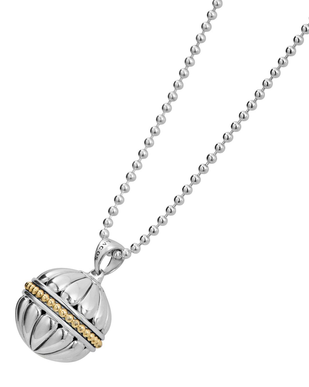 Lagos 18k Gold & Sterling Silver Caviar Talisman Bead Pendant Necklace in Gold/Silver (Metallic)
