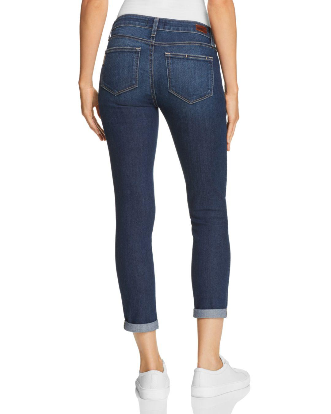 PAIGE Denim Kylie Cuffed Crop Skinny Jeans In Amelle in Blue