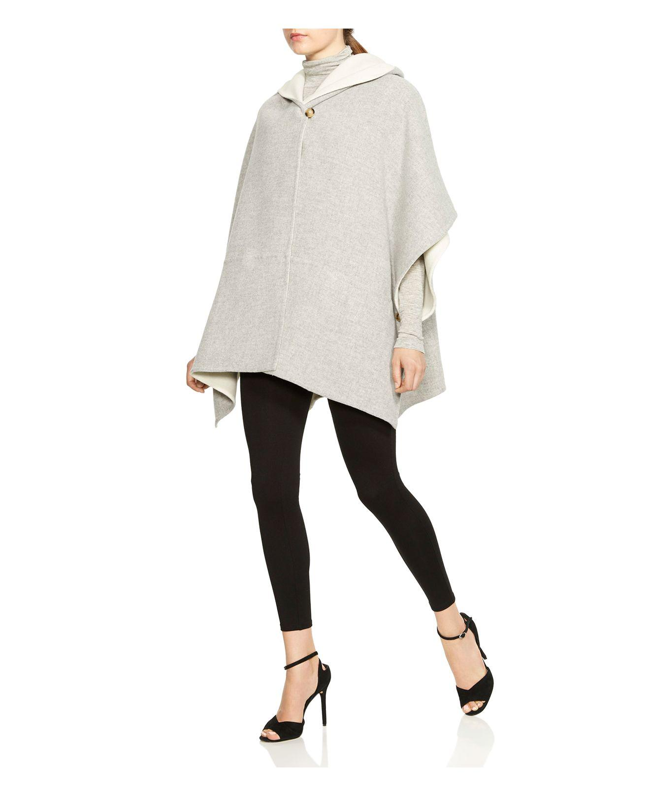 Halston Heritage Womens Double Faced Poncho Coat