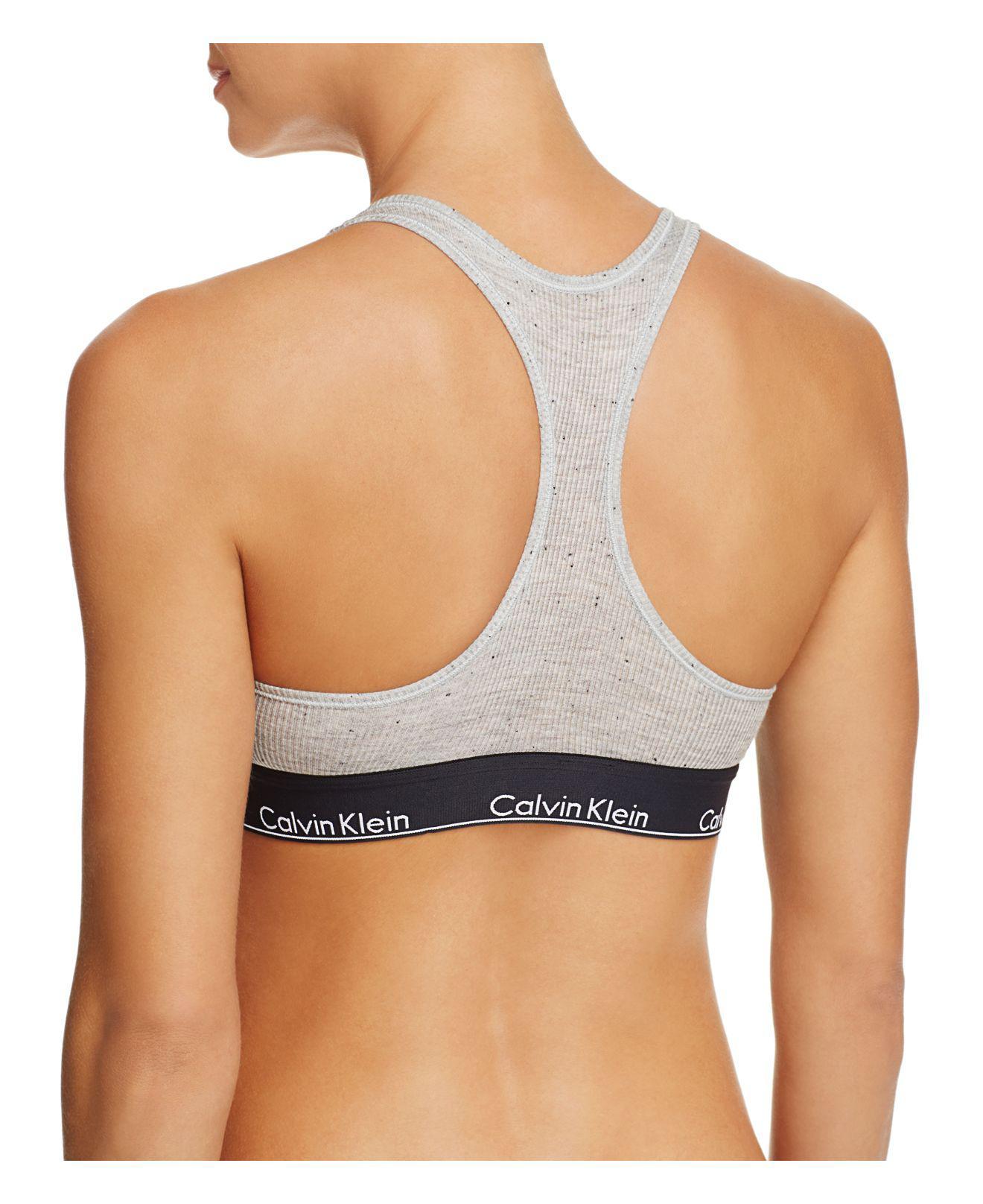 fef09ae9b9f97c Lyst - Calvin Klein Modern Cotton Graphic Ribbed Bralette in Gray
