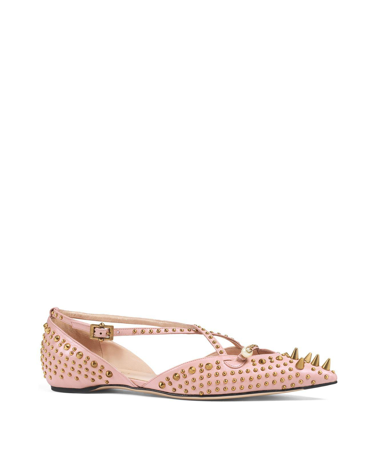 4afe00ec8093a6 Lyst - Gucci Unia Studded Pointed Toe Flats in Pink