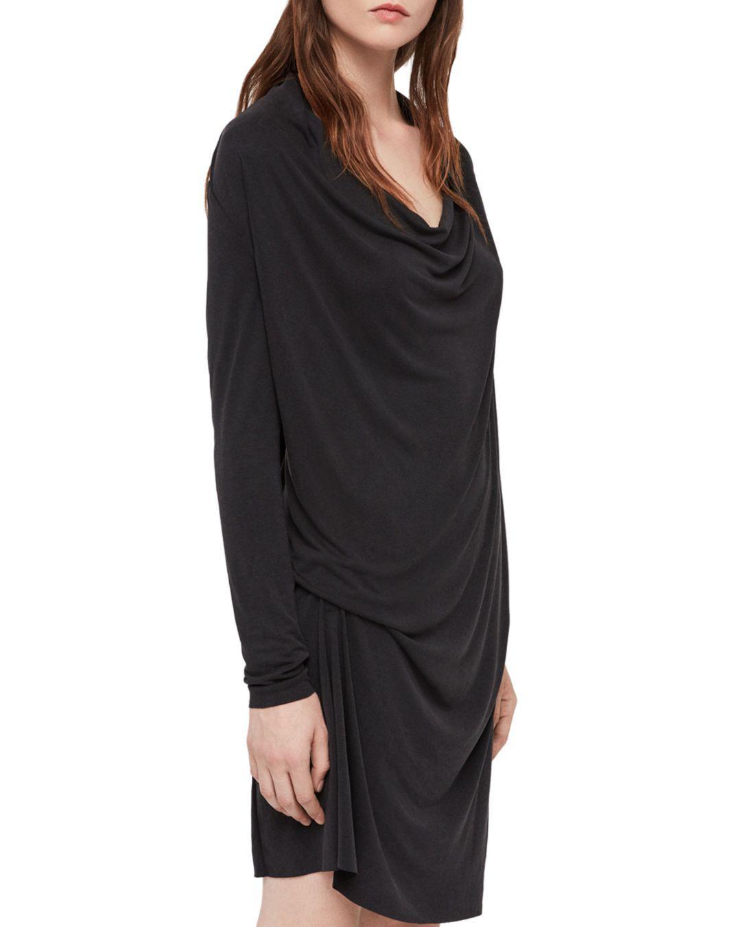 Lyst - Allsaints Amei Draped Shift Dress in Black 08ef04ff6