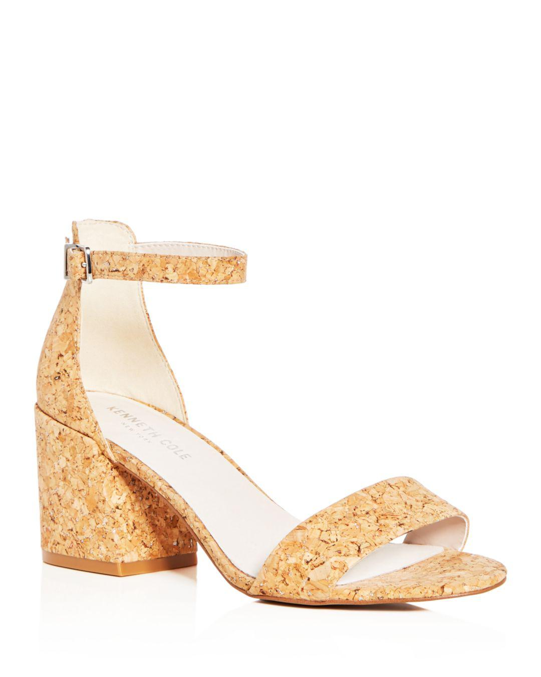 46fb819e0aef Kenneth Cole Women's Hannon Glitter Cork Ankle Strap Block Heel ...