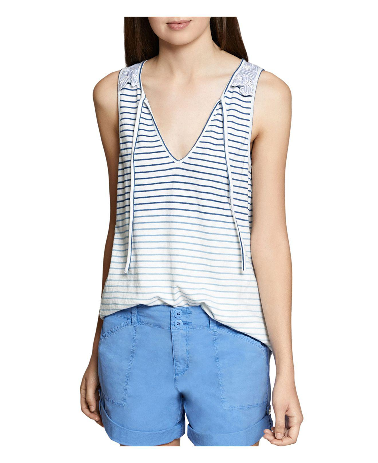 Free Shipping Factory Outlet Cheap Authentic Outlet Sanctuary Leon Eyelet-Trimmed Ombre Striped Tank k0Jbz