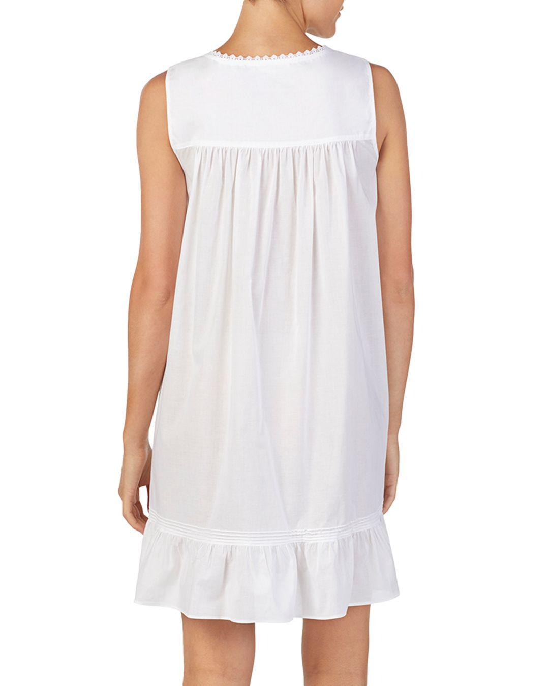 946085e662 Lyst - Eileen West Sleeveless Short Cotton Ballet Nightgown in White