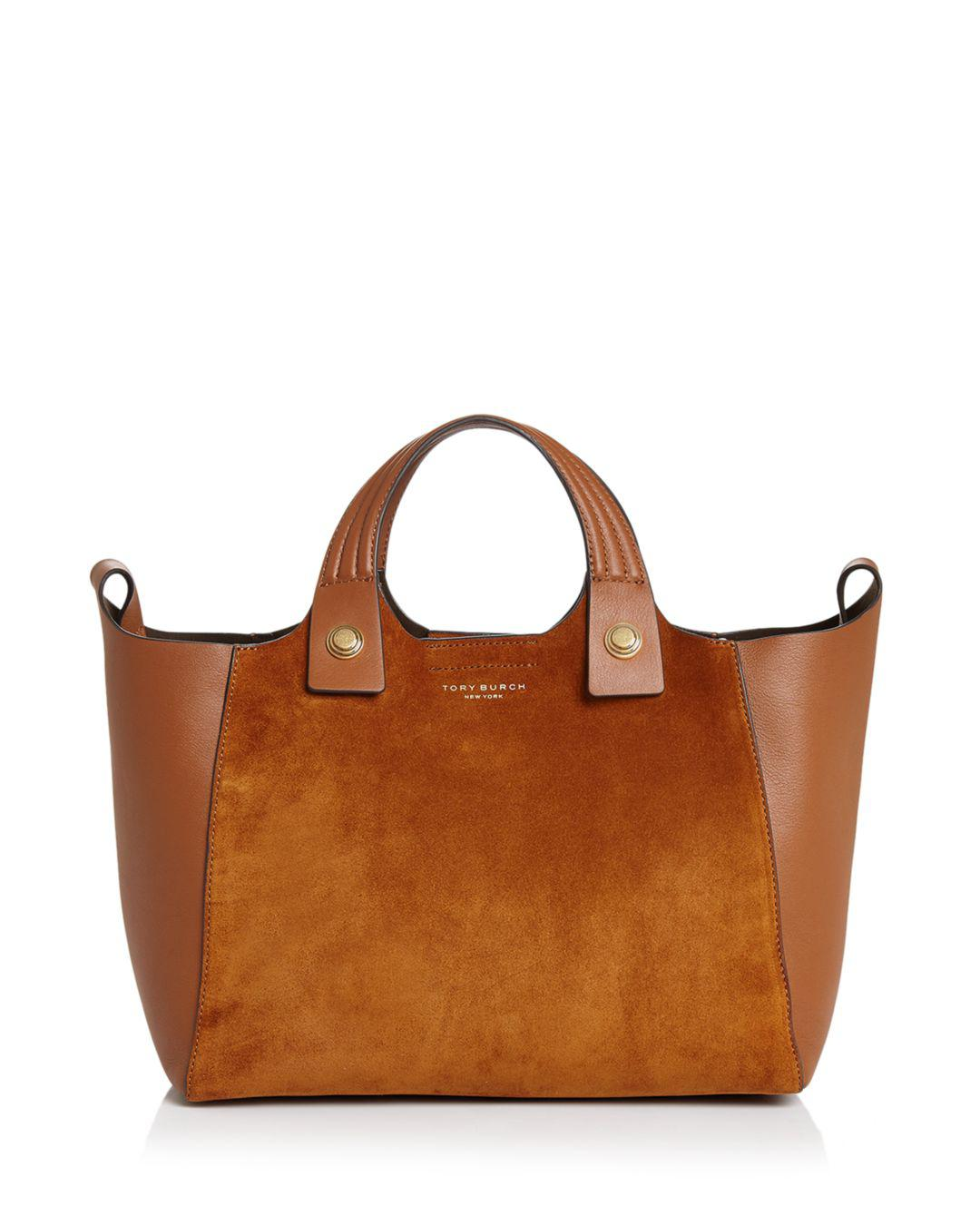 890ede3d6d23 Tory Burch - Brown Rory Mini Suede   Leather Tote - Lyst. View fullscreen