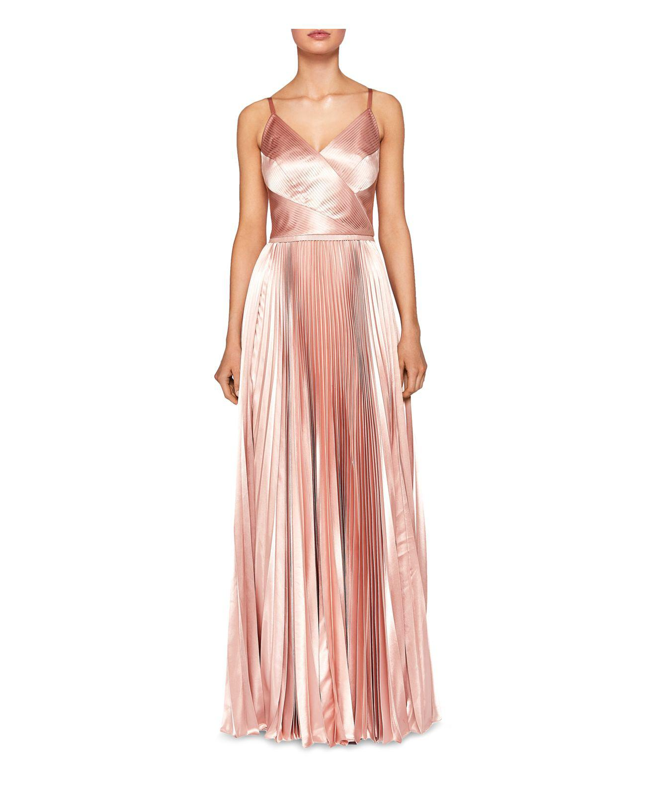 b6081d2dee65 Lyst - Ted Baker Efrona Pleated Satin Gown in Pink