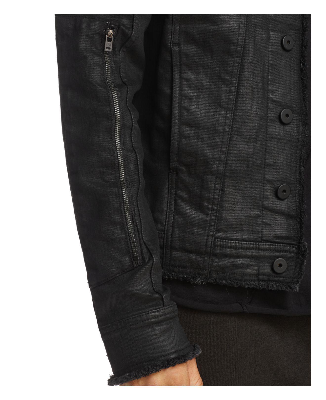 186f97b97838 Thom Krom Frayed Waxed Denim Jacket in Black for Men - Lyst
