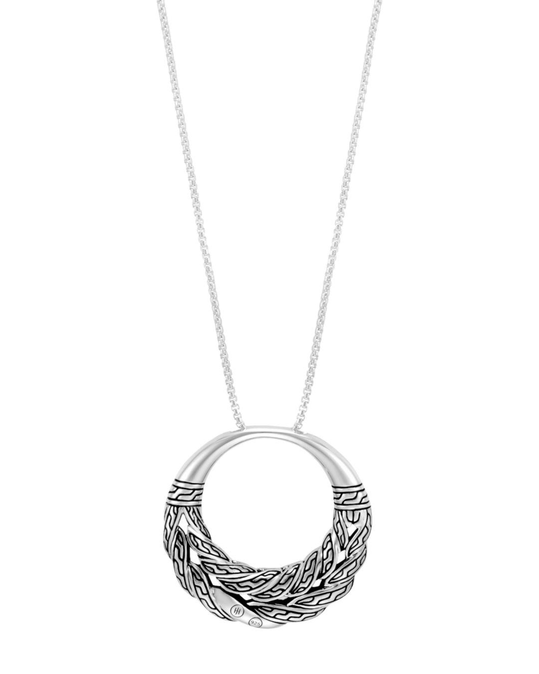 John Hardy Sterling Silver Classic Chain Box Chain Pendant Necklace With Black Sapphire in Black/Silver (Metallic)