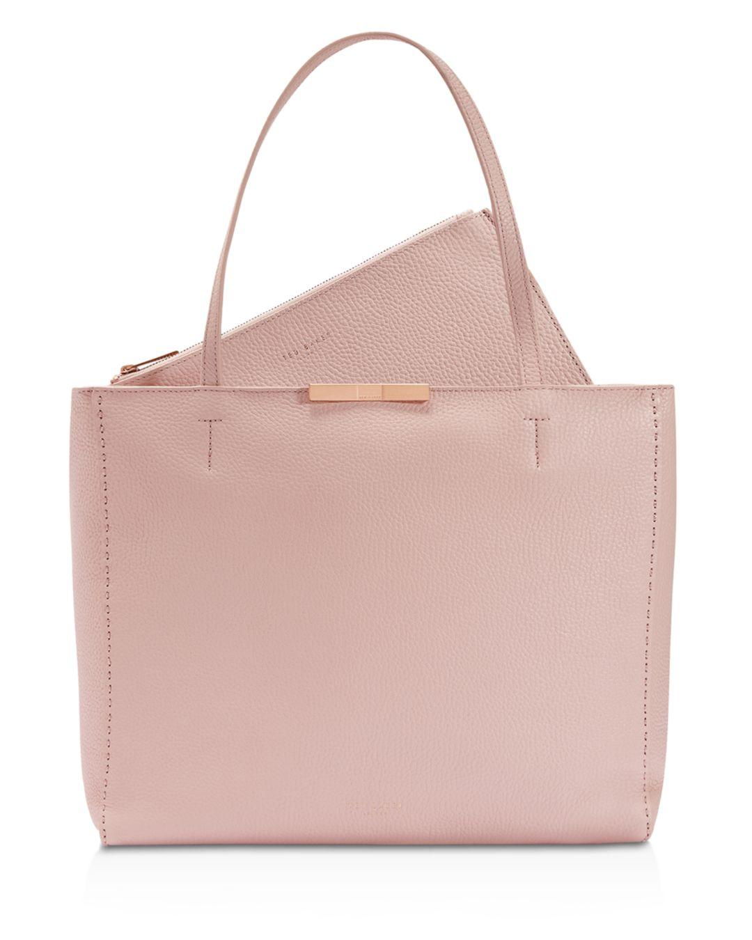 a7323deff1 Lyst - Ted Baker Clarkia Pebbled Leather Shopper Tote in Pink