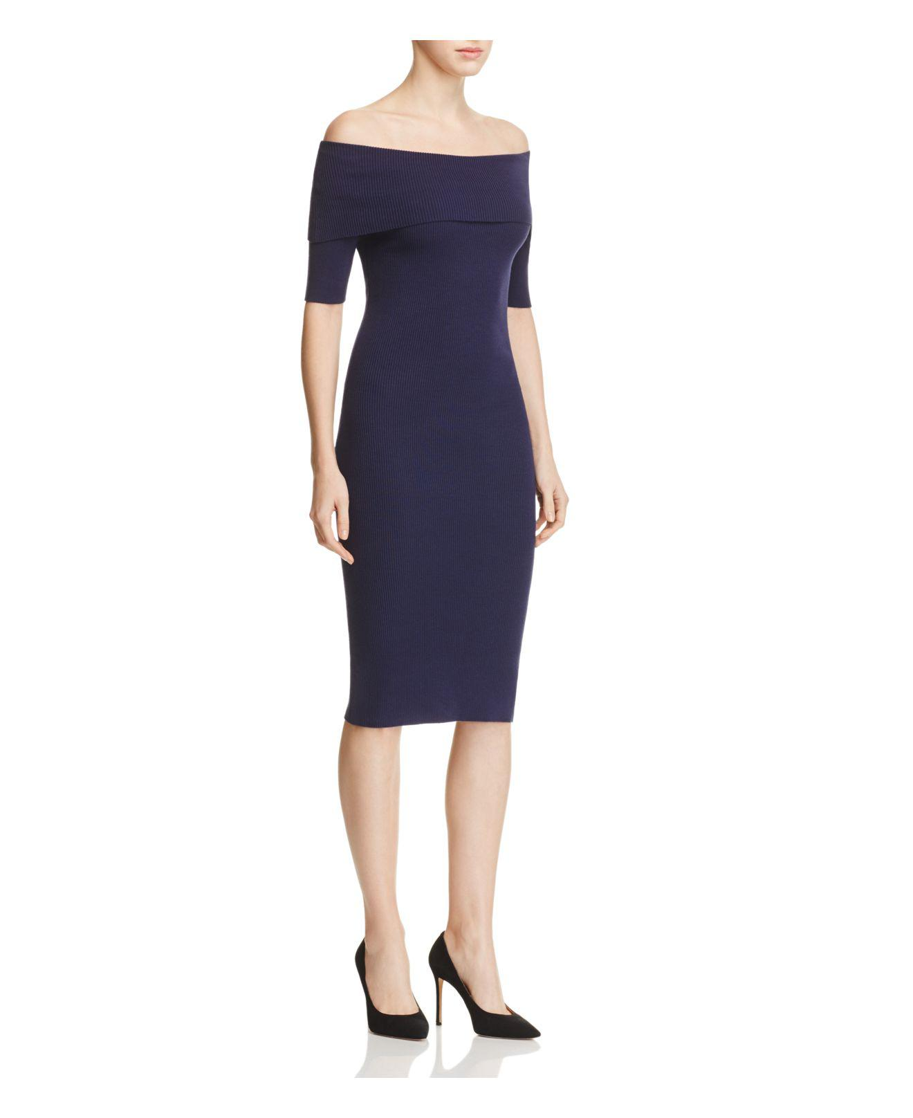 ea713f2970d MICHAEL Michael Kors Off-the-shoulder Ribbed Sweater Dress in Blue ...