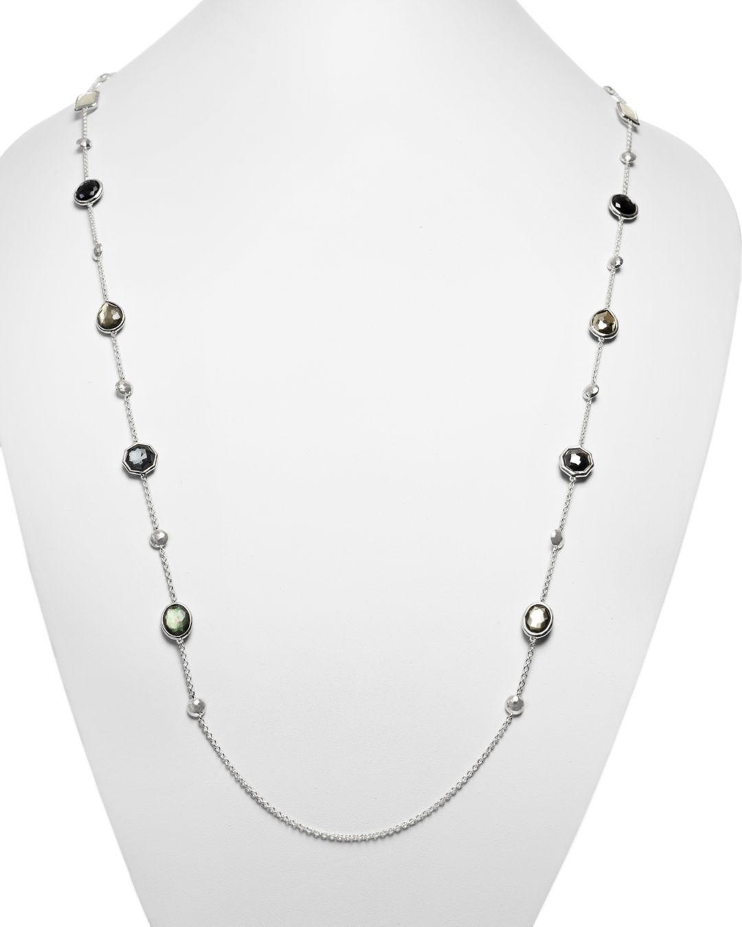 Ippolita Sterling Silver Rock Candy® Medium Stone With Beads Station Necklace In Black Tie